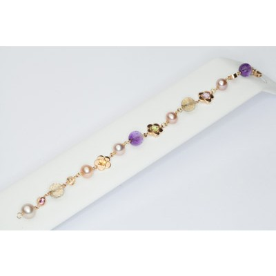 Colorful bracelet in gold
