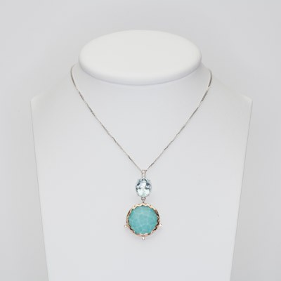 Charm in white gold and turquoise