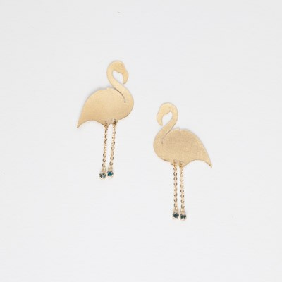 Earrings with flamingo