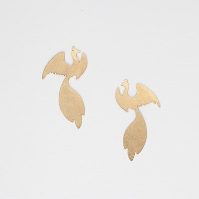 Earrings with peacock shape