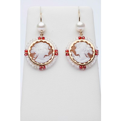 Red and white earrings with cameos