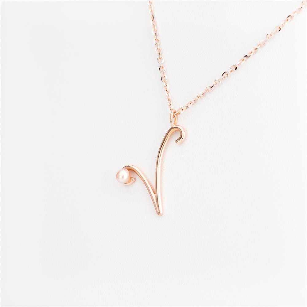 Pendant rose gold letter with initial letter v with natural pearl letter v mozeypictures Image collections